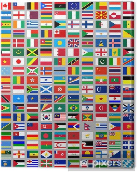 Cuadro en Lienzo 216 banderas de todo el mundo - Señales y símbolos