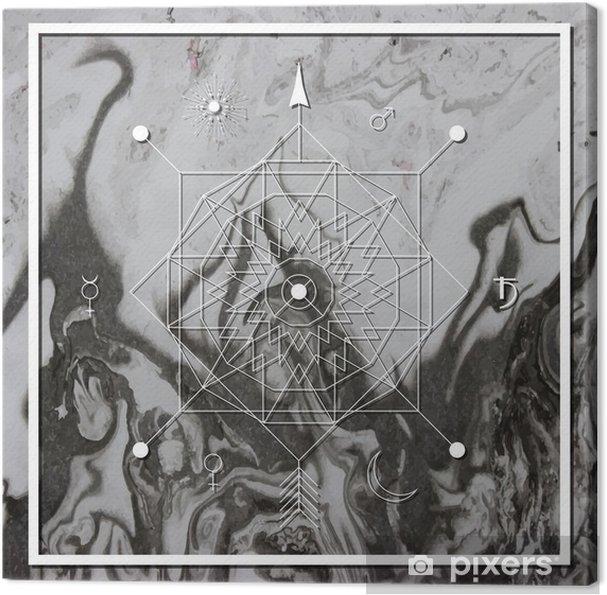 Cuadro en Lienzo Abstracta de la geometría mística, la alquimia lineal, oculto, signo filosófico. - Recursos gráficos