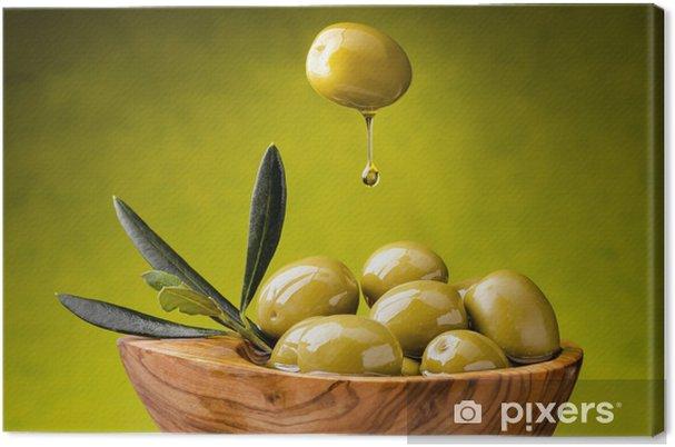 Cuadro en Lienzo Aceitunas verdes con la gota de aceite - Aceitunas