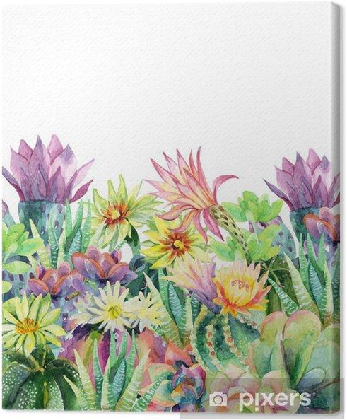 Cuadro en Lienzo Acuarela floración fondo de cactus - Plantas y flores