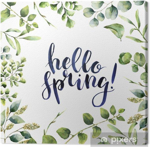 Cuadro en Lienzo Acuarela Hola primavera. tarjeta floral pintada a ...