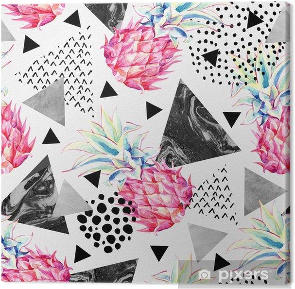 Cuadro en Lienzo Acuarela piña y triángulos con textura de patrones sin fisuras. - Recursos gráficos