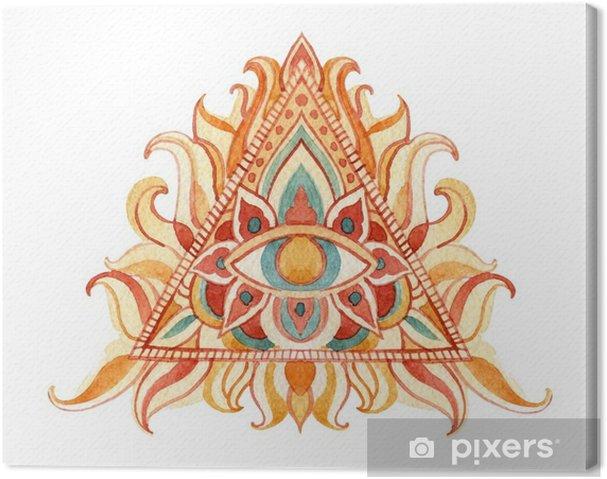 Cuadro en Lienzo Acuarela símbolo del ojo que ve en la pirámide. - Religiones y culturas
