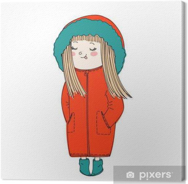 Cuadro en Lienzo Aislado chica de dibujos animados linda que llevaba ropa de abrigo de invierno: el abrigo con capucha y botines - Gente