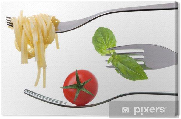 Cuadro en Lienzo Albahaca espaguetis y tomate en horquillas aisladas - Temas
