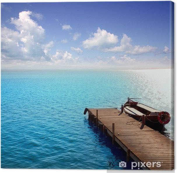 Cuadro en Lienzo Albufera azul barcos lago en El Saler Valencia - Vacaciones