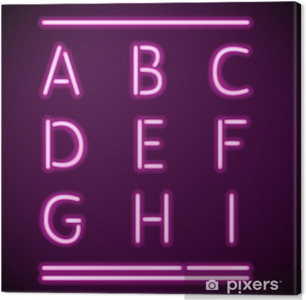 Cuadro en Lienzo Alfabeto de neón realista, AI - Temas