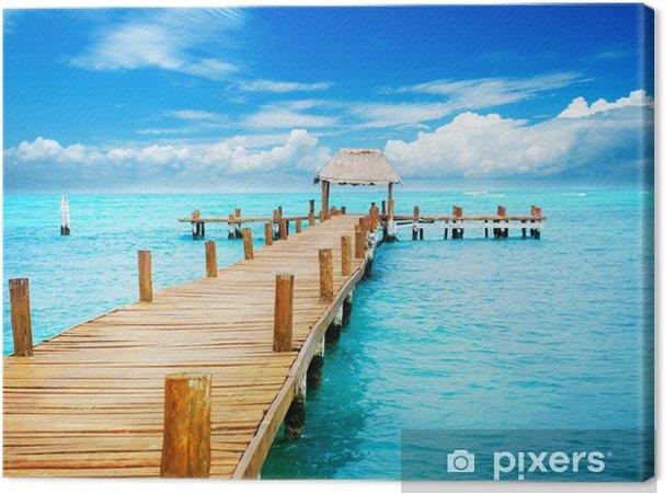Cuadro en Lienzo Alquiler de vacaciones en Tropic Paradise. Embarcadero en Isla Mujeres, México - Temas