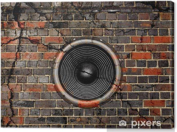Cuadro en Lienzo Altavoz en un fondo de pared de ladrillo agrietada - Música