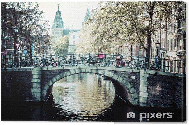 Cuadro en Lienzo Amsterdam Canal y bicicletas - Ciudades europeas