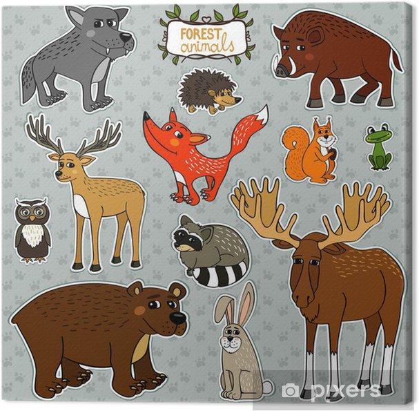 Cuadro en Lienzo Animales búho zorro ciervos - Señales y símbolos
