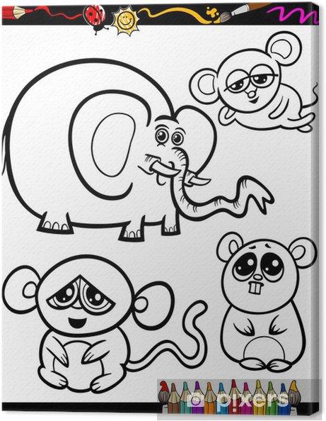 Cuadro en Lienzo Animales de dibujos animados para colorear libro ...