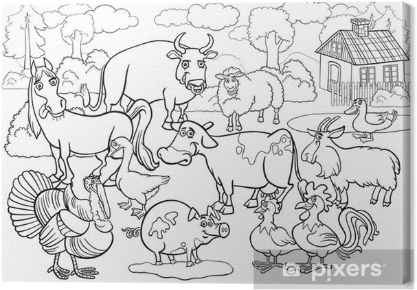 Cuadro En Lienzo Animales De Granja De Dibujos Animados De Libro Para Colorear