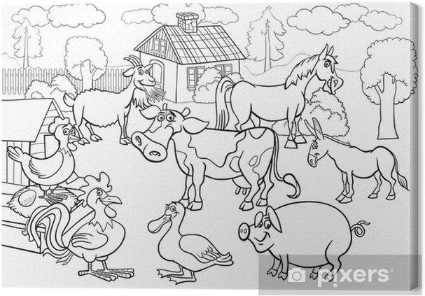 Cuadro en Lienzo Animales de granja de dibujos animados de libro ...