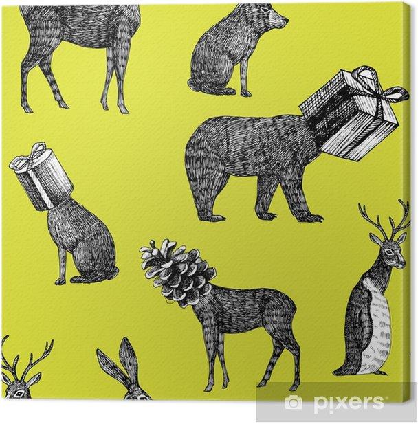 Cuadro en Lienzo Animales de invierno dibujados a mano de fondo sin fisuras - Animales