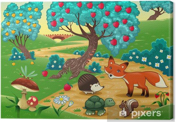 Cuadro en Lienzo Animales en la madera. Cartoon ilustración vectorial - Para niña