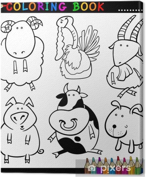 Cuadro en Lienzo Animales para colorear libro o página • Pixers ...