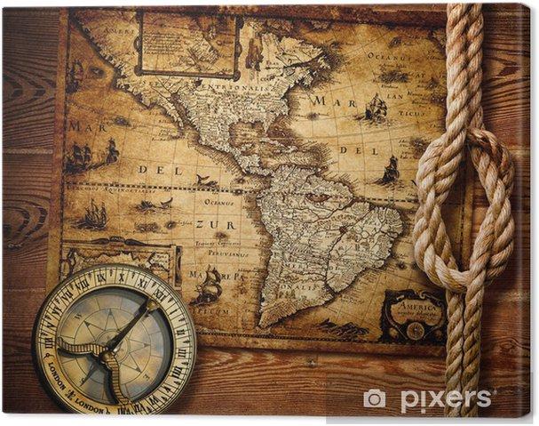 Cuadro en Lienzo Antiguo brújula y mapas antiguos - Temas