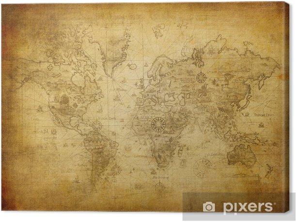 Cuadro en Lienzo Antiguo mapa del mundo. - Temas