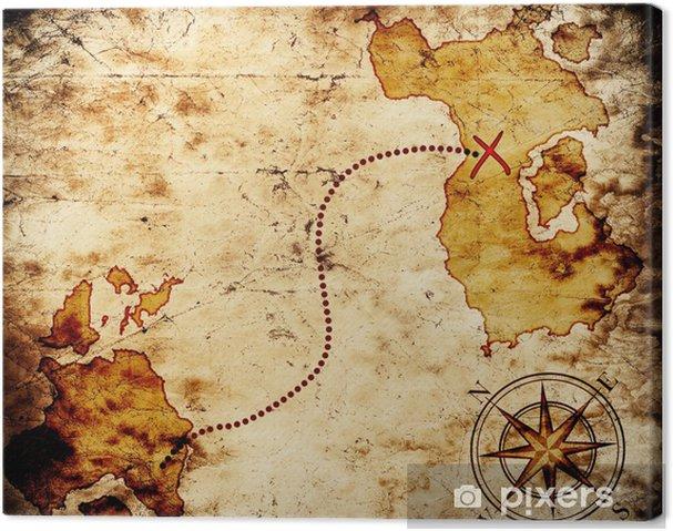 Cuadro en Lienzo Antiguo mapa del tesoro - Fondos