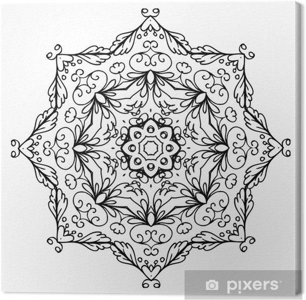 Cuadro en Lienzo Arabesco ornamento floral, bosquejo dibujado a mano ...