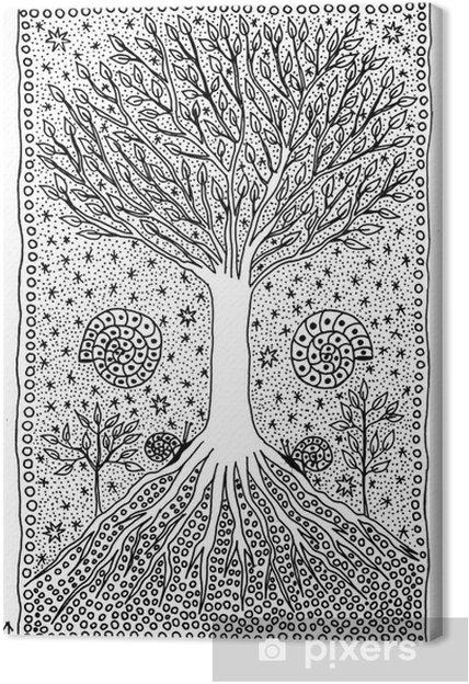 Cuadro En Lienzo árbol De La Vida Dibujo Fantástico Pixers