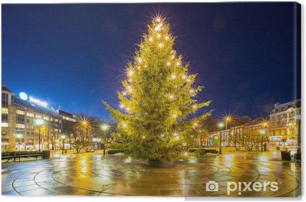 Cuadro en Lienzo Árbol de Navidad de luz - Vacaciones