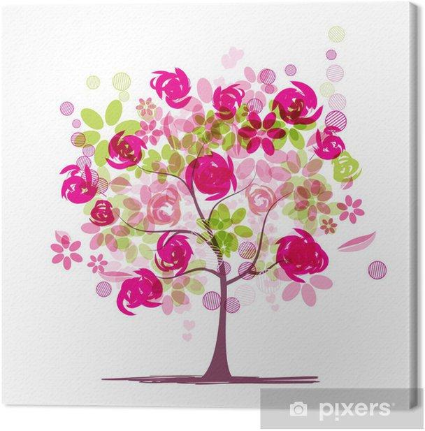 Cuadro en Lienzo Árbol de primavera con rosas para el diseño - Estaciones