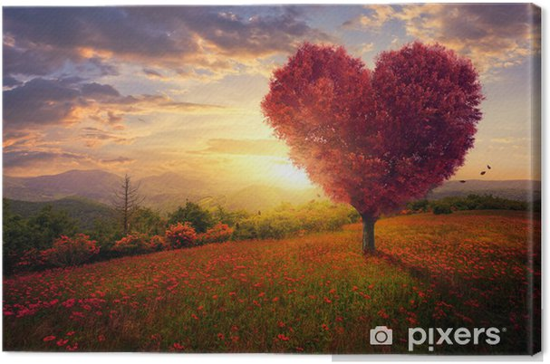 Cuadro En Lienzo árbol En Forma De Corazón Rojo Pixers Vivimos