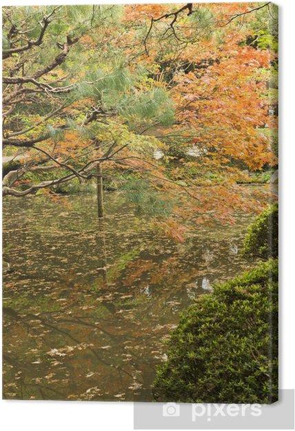 Cuadro en Lienzo Arces rojos plantados en la orilla y la reflexión. - Campos