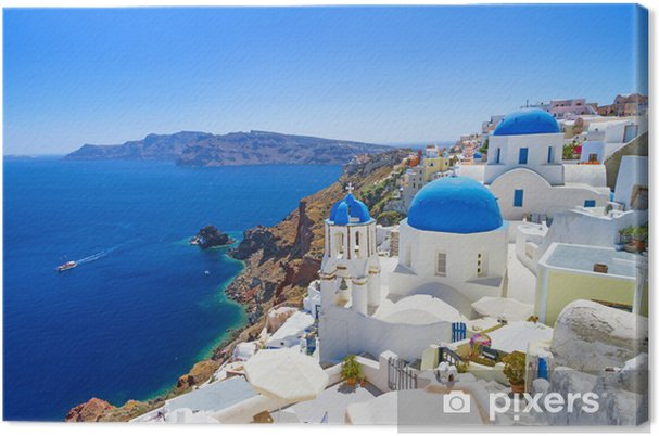 Cuadro en Lienzo Arquitectura blanca de Oia en la isla de Santorini, Grecia - Santorini