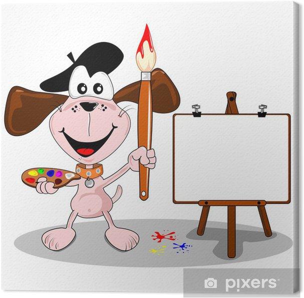 Cuadro en Lienzo Artista perro de dibujos animados con pincel y caballete, con copia espacio - Vinilo para pared