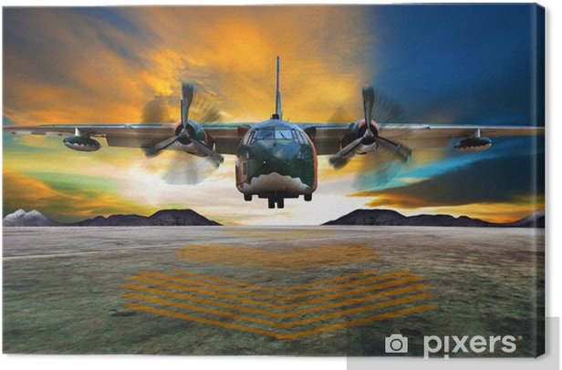 Cuadro en Lienzo Aterrizaje avión militar en las pasarelas de la fuerza aérea contra hermoso dus -