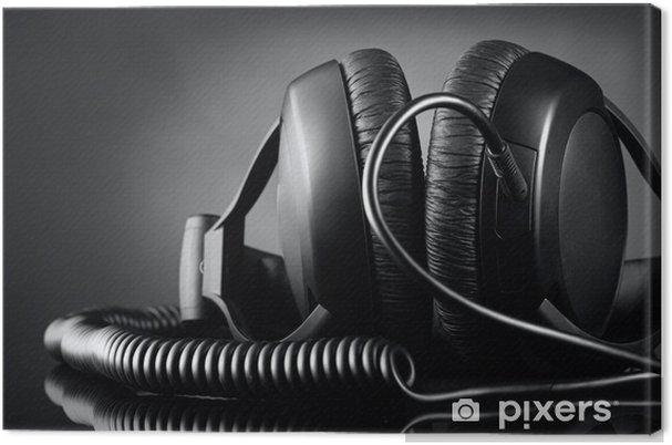 Cuadro en Lienzo Auriculares modernos sobre fondo oscuro - Música