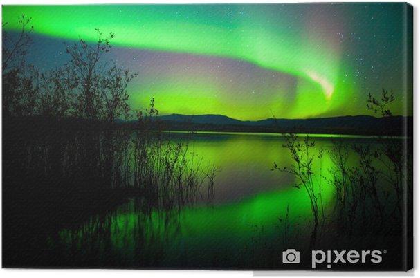 Cuadro en Lienzo Aurora boreal reflejada en el lago -