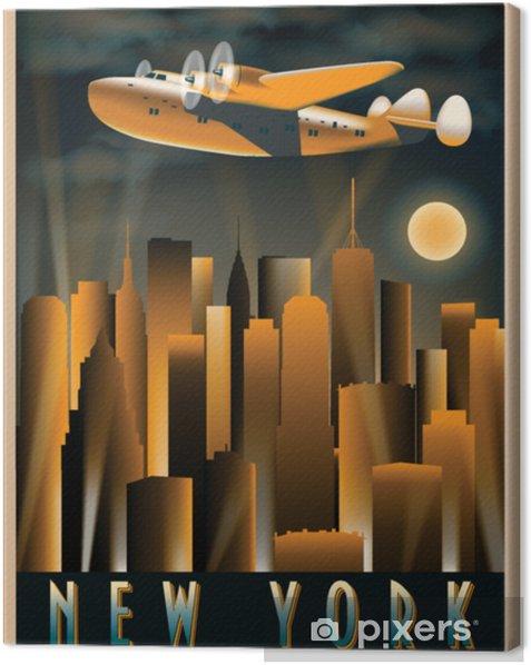 Cuadro en Lienzo Avión en el cielo sobre Nueva York en la noche. Dibujo hecho a mano ilustración vectorial. Estilo art deco. - Viajes
