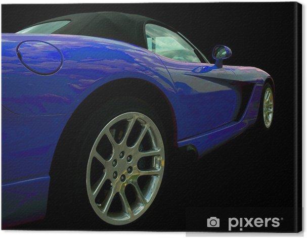 Cuadro en Lienzo Azul coche deportivo - Por carretera