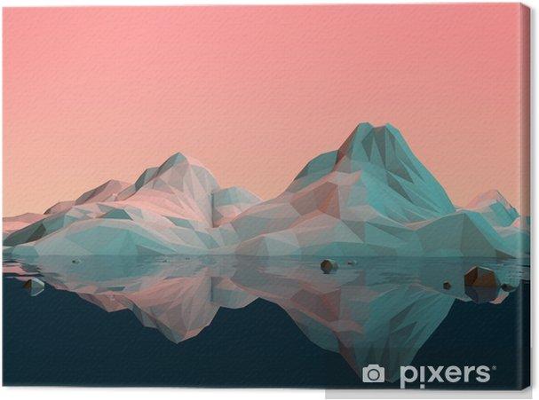 Cuadro en Lienzo Baja-Poly paisaje de la montaña 3D con agua y Reflexión - Deportes
