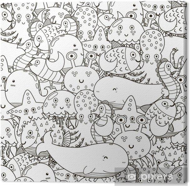 Cuadro En Lienzo Bajo El Agua De Patrones Sin Fisuras Para Colorear Libro Fondo Blanco Y Negro Lindo De Los Animales De Mar Ilustración Vectorial