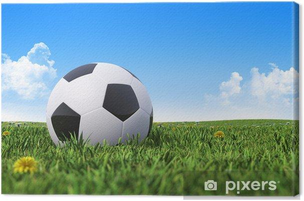 Cuadro en Lienzo Balón de fútbol en un campo de hierba verde - Señales y símbolos