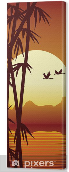 Cuadro en Lienzo Bambú y la puesta del sol -