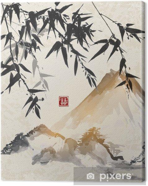 Cuadro en Lienzo Bambú y montañas. Japonés tradicional tinta pintura sumi-e. Contiene jeroglífico - suerte doble. - Paisajes