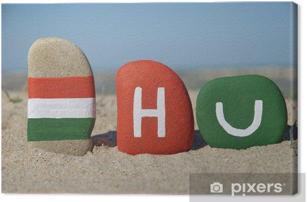 Cuadro en Lienzo Bandera y símbolo de Hungría sobre la arena - Europa