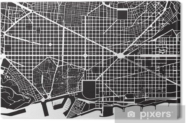 Cuadro en Lienzo Barcelona, negro, blanco, plano de la ciudad - Textura calle - Temas