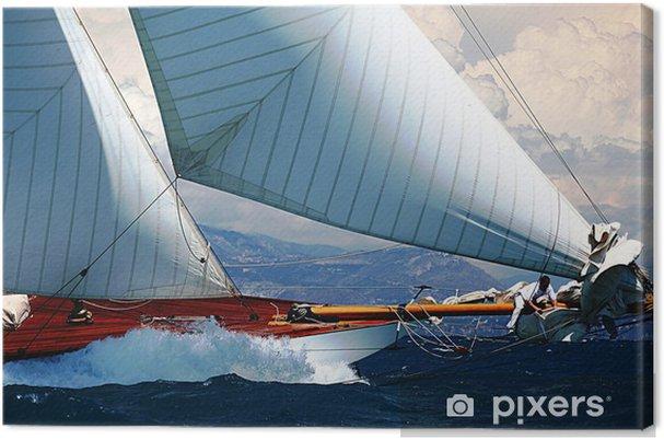 Cuadro en Lienzo Barco de vela regata puerto mediterráneo provence riviera del mar - iStaging
