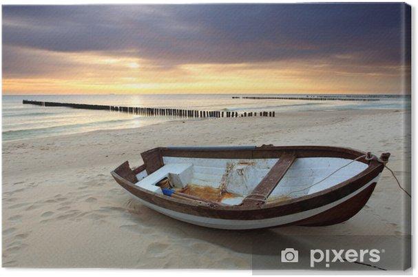 Cuadro en Lienzo Barco en la playa en la salida del sol - Temas