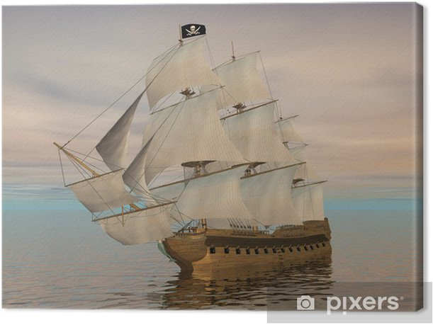 Cuadro en Lienzo Barco pirata - 3D render - Temas