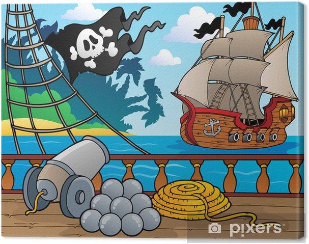 Cuadro en Lienzo Barco pirata baraja tema 4 - Destinos