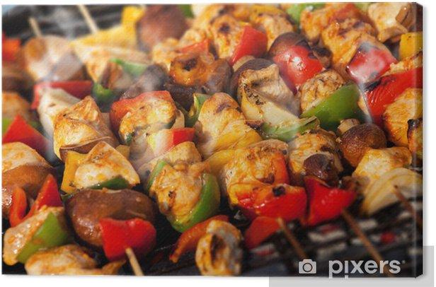 Cuadro en Lienzo BBQ barbacoa pinchos de kebab - Carne