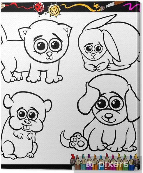 Cuadro En Lienzo Bebe Mascotas Conjunto De Dibujos Animados Para